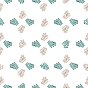 Dekoratives hawaii-nahtloses muster mit monstera-gekritzeldruck. isolierte verzierung. weißer hintergrund.