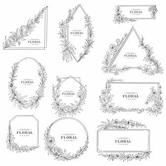 Dekoratives hochzeitsblumenrahmen-set-design