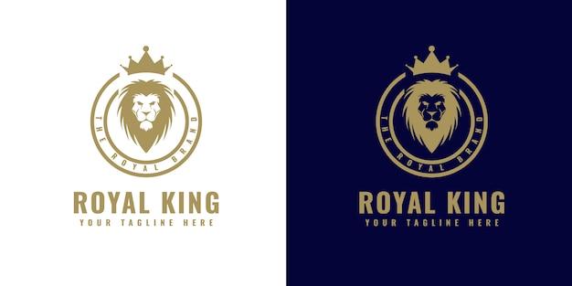 Dekoratives logo des luxus-vintage-monogramms der goldverzierung mit kronen- und löwenkopf-entwurfsschablone, die für schmuckschmuckgeschäft und luxusmarke des hotelrestaurants spa-boutique-salonresortcafé geeignet ist