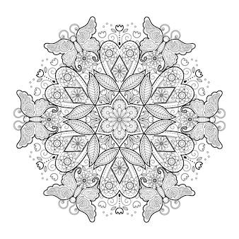 Dekoratives mandala-ornament mit blumenmuster
