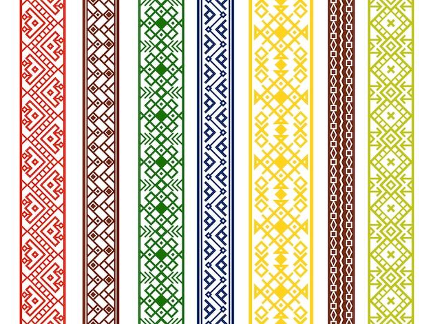 Dekoratives nahtloses muster der verzierung stellte in verschiedene farben auf weiß, vektorillustration ein