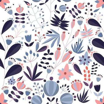 Dekoratives nahtloses muster mit blühenden wiesenblumen und wild blühenden pflanzen