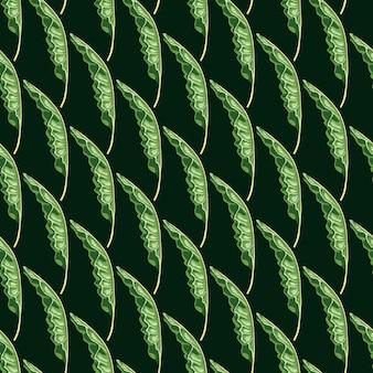 Dekoratives nahtloses muster mit grünen bananenblättern formt druck. schwarzer hintergrund. doodle-hintergrund.