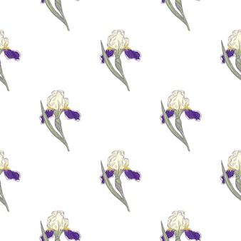 Dekoratives nahtloses muster mit lokalisierter lila irisblume des gekritzels