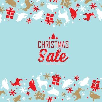 Dekoratives plakat des weihnachtsverkaufs, geteilt in drei teile mit rotem text über rabatte und traditionelle symbole