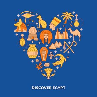 Dekoratives plakat mit ägypten-symbolen auf herzform
