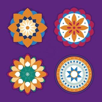 Dekoratives rangolis-icon-set