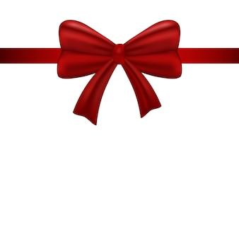 Dekoratives realistisches rotes band mit glänzendem geschenkbogen.