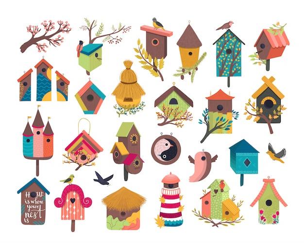 Dekoratives vogelhaus-illustrationsset, cartoon niedliches vogelhaus für fliegende vögel, niedliche vogelbox flache symbole lokalisiert auf weiß