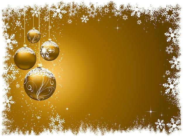 Dekoratives weihnachten mit schneebedeckten kugeln
