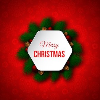 Dekoratives weihnachtsbanner mit tannenzweigen, roten kugeln, tannenzapfen. roter farbhintergrund, schneeflockenmuster. frohe weihnachten text.
