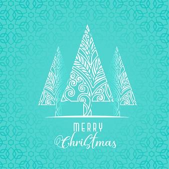 Dekoratives weihnachtsbaumdesign auf blauem hintergrund