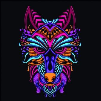 Dekoratives wolfsgesicht aus neonfarbe