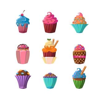 Dekorierte cupcakes-aufkleber-sammlung