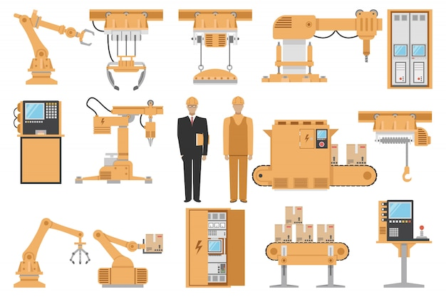 Dekorierte ikonen der automatisierten montagedekoration, die mit der isolierten vektorillustration des maschinenbediener-computerverwaltungsmaschinenherstellungsprozesses eingestellt werden