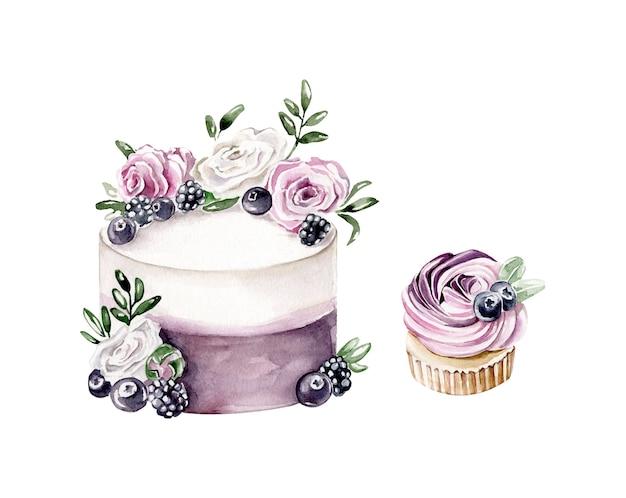 Dekorierte kuchen. aquarellkuchen und cupcake mit beeren
