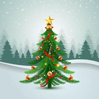 Dekorierte weihnachtsbaum-feiertagskarte mit wellenhintergrund