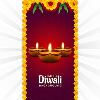 Dekorierter diwali diya festivalkartenhintergrund