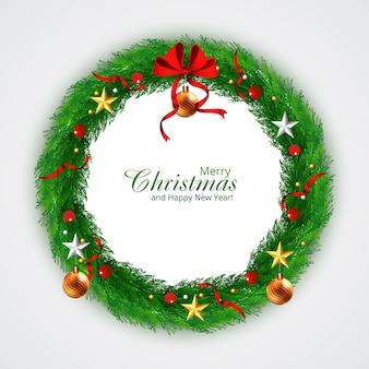 Dekorierter weihnachtskranz mit sternenhintergrund