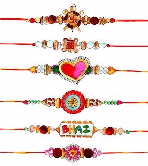 Dekoriertes rakhi-set für das indische festival-raksha-bandhan-design