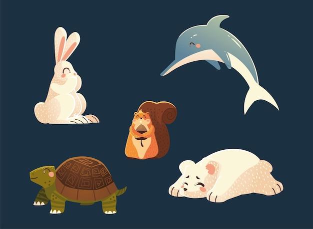 Delfin-kaninchen-eichhörnchen-schildkröte und eisbär-naturkarikatur-tiervektorillustration