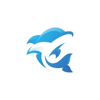 Delfinfisch-maskottchen-logo