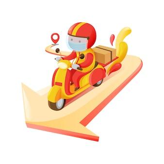 Delivery man carrying box online-smartphone-bestellung zum ziel vom abholpunkt motorrad in roter und gelber farbschema-abbildung