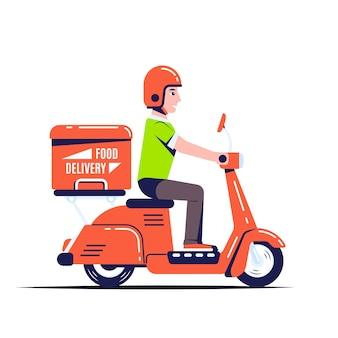 Delivery man ride scooter motorrad mit einer box