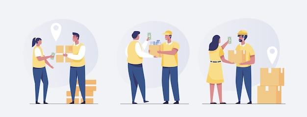 Deliveryman-konzept. satz des kuriers, der das paket an den kunden liefert. vektor-illustration