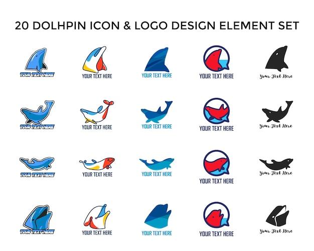 Delphin icon logo designset