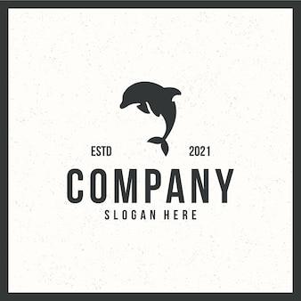 Delphin-logo, fliegendes, retro-, vintage-, schwarzweiss-farbkonzept