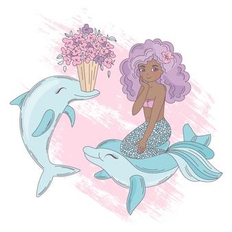 Delphin-meerjungfrau-karikatur-reise-tropische vektor-illustration