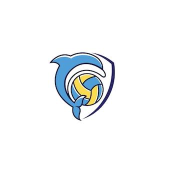 Delphin schild logo design vektor herunterladen