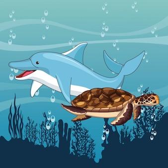 Delphin und schildkröte, die zusammen schwimmen