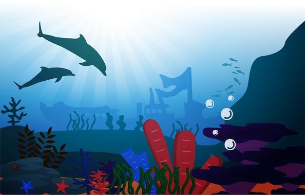 Delphin versunkenes schiff tierwelt meerestiere unterwasser aquatische illustration