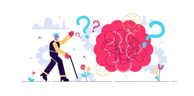 Demenzgesundheitsstörung winzige personenkonzeptillustration. gehirn mit stilisierten gedanken und erinnerungen, die durcheinander geraten und den menschlichen kopf verlassen. ältere person mit fragezeichen und spazierstock.