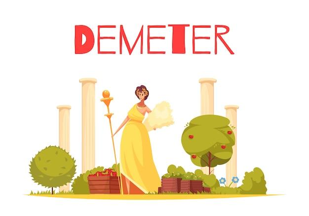 Demeter-karikaturzusammensetzung mit der eleganten figürchen der griechischen göttin stehend auf flacher illustration des alten architekturhintergrundes