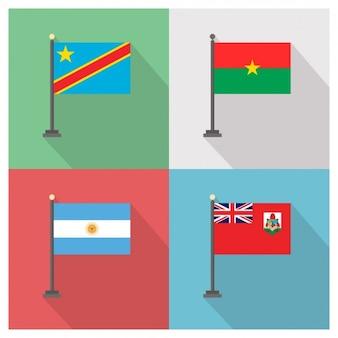 Demokratische Republik Kongo Burkina Faso Argentinien und Bermuda Flags