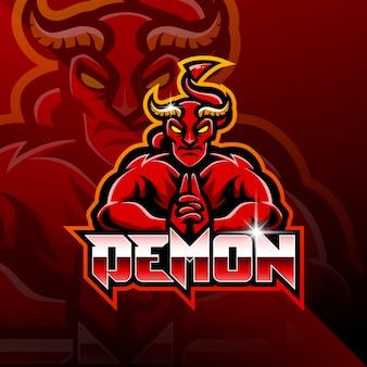 Demon esport maskottchen logo design