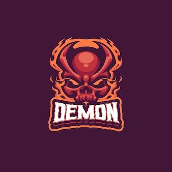 Demon head maskottchen logo für esport und sport team
