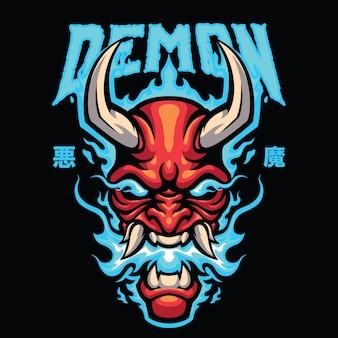 Demon mascot logo vorlage für das esport- und sport logo team Premium Vektoren