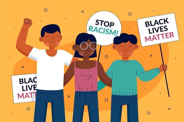 Demonstranten der schwarzen lebensmaterie stoppen das rassismuskonzept