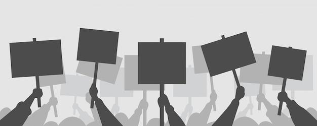 Demonstranten hände halten frieden protest poster leere stimmen plakate demonstration rede aktivist rallye wahlkampf wahlkampf politische freiheit konzept horizontal
