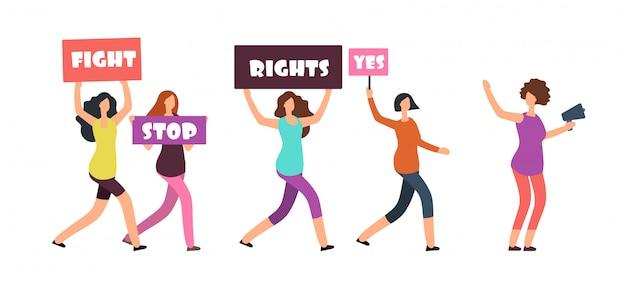 Demonstrantinnen gehen auf kundgebung. feminismus, frauenrechte und protestvektorkonzept
