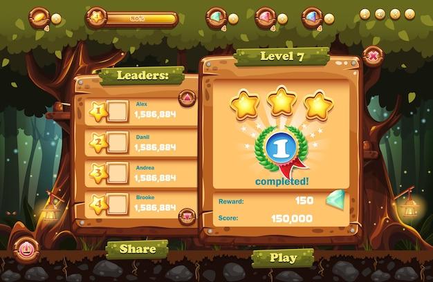 Den spielbildschirm zum computerspiel magic forest mit ansichten des anführers und der fertigstellung machen