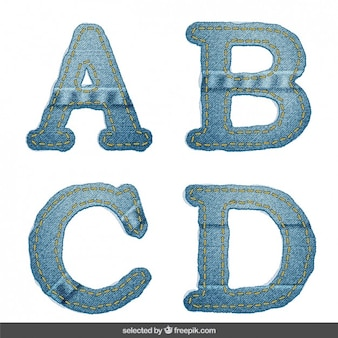 Denim alphabet abcd