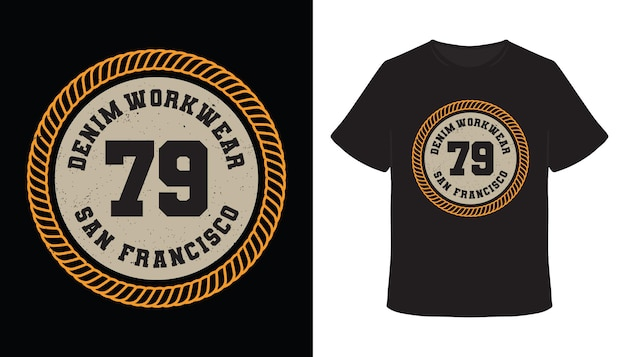 Denim-arbeitskleidung neunundsiebzig typografie-t-shirt-design
