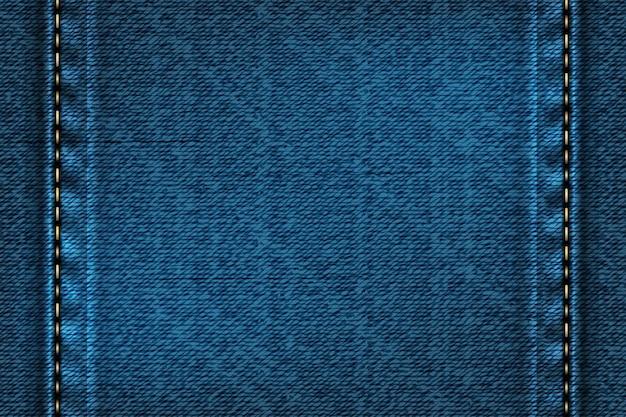 Denim rechteckigen hintergrund mit naht. illustration der blauen textur.