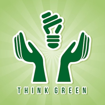 Denke grün über grünem hintergrund vektor-illustration