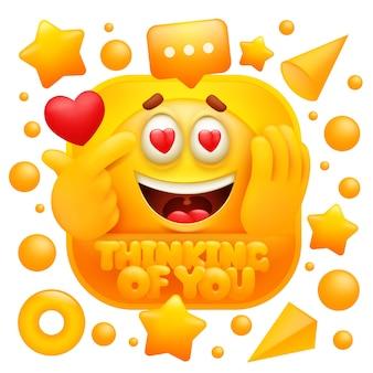 Denken an sie web-aufkleber. gelber emoji-charakter im 3d-cartoon-stil.